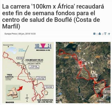 Recorrido carrera 100km X África